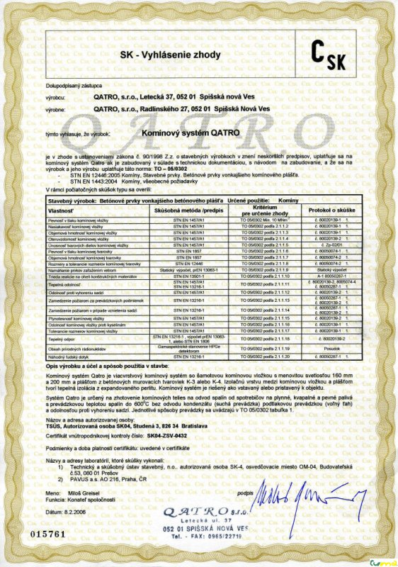 QATRO - certifikát 01