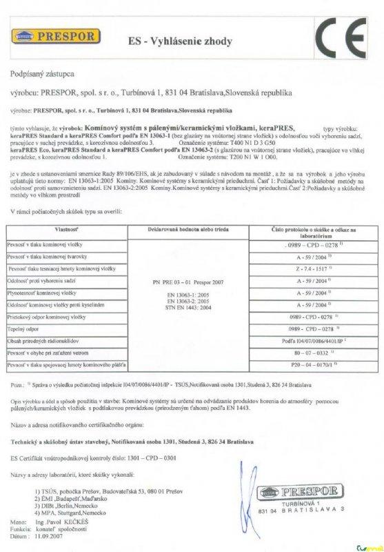 PRESPOR - certifikát NOV univerzál