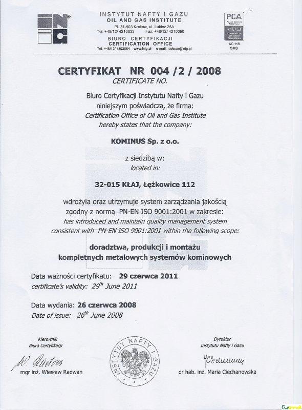 Kominus - certifikát 01