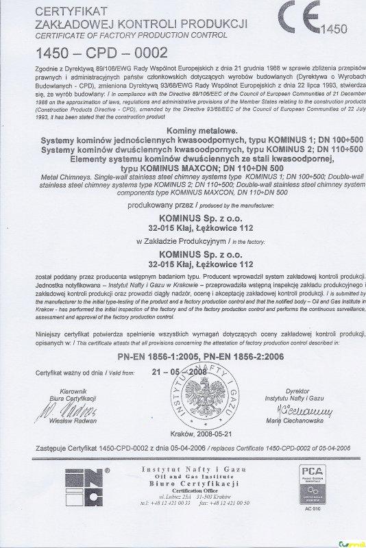 Kominus - certifikát 02