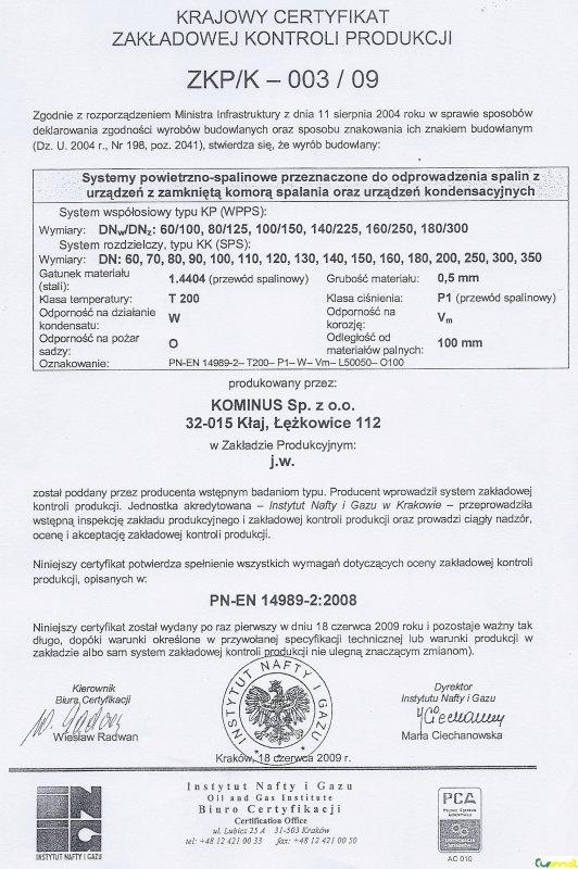 Kominus - certifikát 03